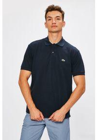 Niebieska koszulka polo Lacoste na co dzień, casualowa, krótka