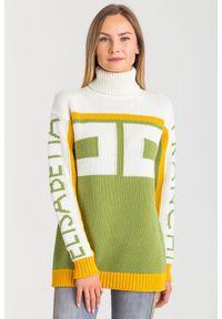 Sweter Elisabetta Franchi na spacer, w kolorowe wzory, elegancki, z golfem