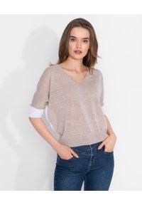 CAPPELLINI - Beżowy sweter z lnem. Kolor: biały. Materiał: len
