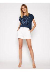 Niebieski t-shirt TwinSet krótki, z aplikacjami, z krótkim rękawem