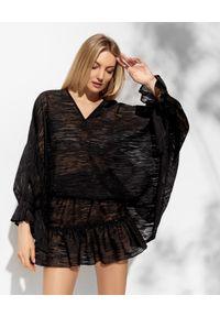 MARLU - Czarna bluzka oversize z wiskozy. Okazja: na plażę. Kolor: czarny. Materiał: wiskoza. Długość: długie. Styl: wakacyjny