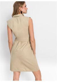 Sukienka lniana bonprix beżowy. Kolor: beżowy. Materiał: len #6