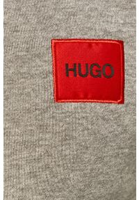 Hugo - Bluza bawełniana. Okazja: na co dzień. Typ kołnierza: kaptur. Kolor: szary. Materiał: bawełna. Styl: casual