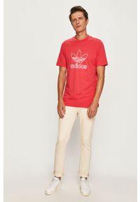 Różowy t-shirt adidas Originals z nadrukiem, na co dzień, casualowy, z okrągłym kołnierzem