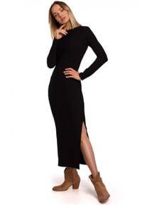 MOE - Dopasowana sukienka maxi z prążkowanej dzianiny. Materiał: prążkowany, dzianina. Długość rękawa: długi rękaw. Długość: maxi