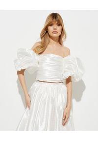 MACH&MACH - Biały top z bufiastymi rękawami. Typ kołnierza: dekolt gorset. Kolor: biały. Materiał: jedwab, tkanina, satyna. Styl: elegancki