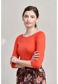 Marie Zélie - Bluzka Ribolla czerwień wiosenna. Kolor: czerwony. Materiał: bawełna, dzianina, materiał, elastan, skóra. Sezon: wiosna