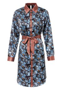 Sukienka z paskiem bonprix ciemnoniebiesko-jasnoniebiesko-jasnoczerwony w kwiaty. Kolor: niebieski. Wzór: kwiaty. Typ sukienki: koszulowe