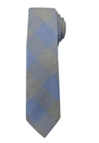 Modny i Elegancki Krawat Alties - Niebiesko-Stalowa Krata. Kolor: niebieski. Materiał: tkanina. Styl: elegancki