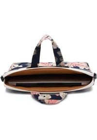Torba na laptopa CANVASLIFE Briefcase 15-16 cali Navy Rose. Materiał: materiał. Wzór: aplikacja, kwiaty