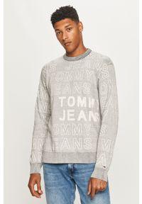 Szary sweter Tommy Jeans długi, z okrągłym kołnierzem, z długim rękawem