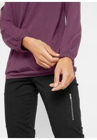 Shirt bawełniany z długim rękawem i gumką bonprix czarny bez. Typ kołnierza: dekolt w serek. Kolor: fioletowy. Materiał: bawełna. Długość rękawa: długi rękaw. Długość: długie