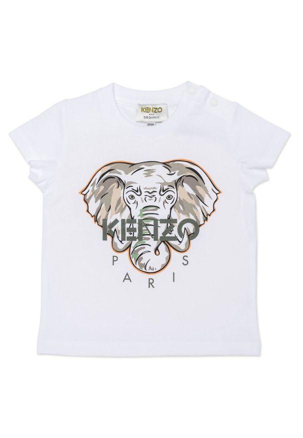 Kenzo kids - KENZO KIDS - Koszulka z grafiką słonia 0-4 lat. Kolor: biały. Materiał: bawełna. Wzór: nadruk. Sezon: lato. Styl: klasyczny