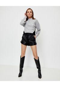 SELF PORTRAIT - Szary sweter z cyrkoniami. Kolor: szary. Materiał: prążkowany, koronka, wełna, dzianina, jeans. Wzór: koronka. Styl: elegancki