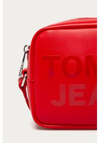 Czerwona listonoszka Tommy Jeans z nadrukiem, na ramię, mała, skórzana