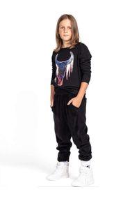 ROBERT KUPISZ - Czarny t-shirt Crazy Bull Longsleeve. Kolor: czarny. Materiał: bawełna. Długość rękawa: długi rękaw. Długość: długie. Wzór: nadruk, kolorowy