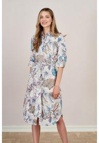Marie Zélie - Sukienka Eliza lniana Celebes. Materiał: len. Długość rękawa: długi rękaw. Typ sukienki: szmizjerki. Styl: klasyczny