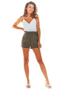 Brązowe spodnie z wysokim stanem Awama eleganckie, krótkie