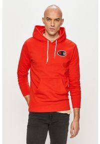 Czerwona bluza nierozpinana Champion na co dzień, z aplikacjami, z kapturem, casualowa