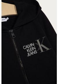 Czarna bluza rozpinana Calvin Klein Jeans z nadrukiem, z kapturem