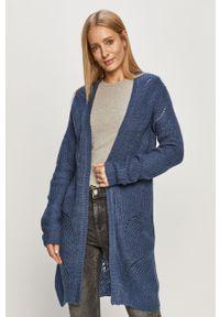 Niebieski sweter rozpinany Jacqueline de Yong casualowy, z długim rękawem, długi