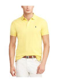 Ralph Lauren - RALPH LAUREN - Koszulka Polo Slim Fit. Typ kołnierza: polo. Kolor: żółty. Materiał: prążkowany, bawełna. Wzór: haft, aplikacja. Styl: klasyczny