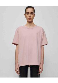 NANUSHKA - Różowa koszulka Reece. Kolor: wielokolorowy, fioletowy, różowy. Materiał: jeans, bawełna