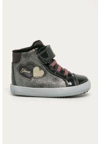 Szare buty sportowe Geox na rzepy, z okrągłym noskiem, z cholewką