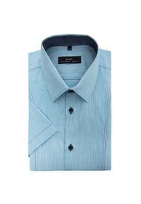 Niebieska koszula Giacomo Conti z krótkim rękawem, krótka, z klasycznym kołnierzykiem