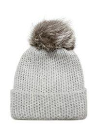 Szara czapka William Sharp na zimę, w kolorowe wzory