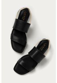 Czarne sandały Lauren Ralph Lauren na średnim obcasie, na obcasie, gładkie