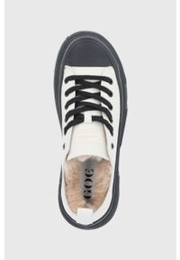 GOE - Tenisówki skórzane. Nosek buta: okrągły. Zapięcie: sznurówki. Kolor: beżowy. Materiał: skóra