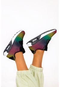 Casu - Czarne sneakersy na koturnie buty sportowe sznurowane casu b3363-9. Kolor: czarny, wielokolorowy. Obcas: na koturnie