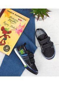 UNDERLINE - Trampki dziecięce Underline 66A19115 Czarne. Zapięcie: rzepy. Kolor: czarny. Materiał: guma, tkanina, skóra