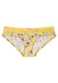 Figi hipster bonprix żółty w kwiaty. Kolor: żółty. Materiał: koronka. Wzór: kwiaty