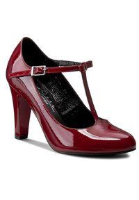 Czerwone półbuty Kotyl na obcasie, eleganckie, z aplikacjami, na średnim obcasie