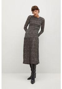 mango - Mango - Sukienka ROLO. Kolor: czarny. Materiał: tkanina, materiał. Długość rękawa: długi rękaw. Typ sukienki: rozkloszowane