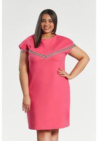 Moda Size Plus Iwanek - Amarantowa sukienka Jula z lampasami duże rozmiary OVERSIZE PLUS SIZE WIOSNA. Okazja: na spacer. Kolekcja: plus size. Kolor: różowy. Materiał: elastan, tkanina, bawełna. Wzór: aplikacja. Sezon: wiosna. Typ sukienki: dla puszystych, oversize