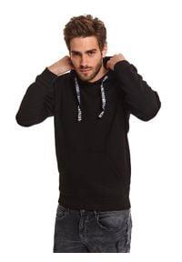 TOP SECRET - Czarna bluza typu kangurka. Kolor: czarny. Materiał: materiał. Długość: długie. Sezon: wiosna