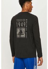 Czarna koszulka z długim rękawem Adidas z nadrukiem, casualowa