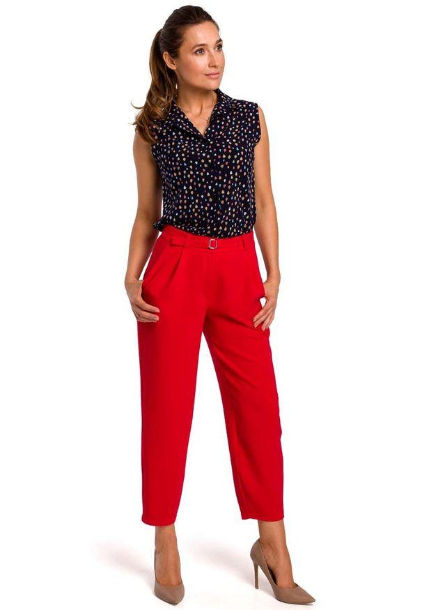 MOE - Wzorzysta Koszulowa Bluzka bez Rękawów - Model 4. Materiał: elastan, poliester. Długość rękawa: bez rękawów