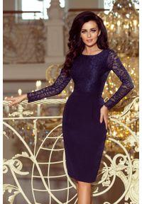 Numoco - Elegancka ołówkowa sukienka z koronką. Materiał: koronka. Długość rękawa: krótki rękaw. Wzór: koronka. Typ sukienki: ołówkowe. Styl: elegancki