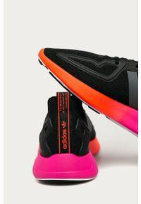 Czarne sneakersy adidas Originals z cholewką, z okrągłym noskiem, Adidas ZX, na sznurówki