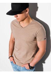 Ombre Clothing - T-shirt męski bawełniany basic S1369 - jasnobrązowy - XXL. Kolor: brązowy. Materiał: bawełna. Styl: klasyczny