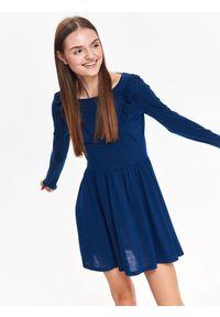 Niebieska sukienka TROLL na zimę, elegancka