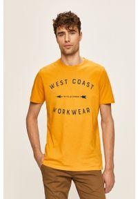 Pomarańczowy t-shirt Lee z nadrukiem, casualowy, na co dzień