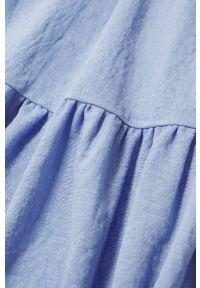 mango - Mango - Sukienka CASIMIRA. Kolor: niebieski. Materiał: włókno, tkanina. Długość rękawa: na ramiączkach. Wzór: gładki. Typ sukienki: rozkloszowane