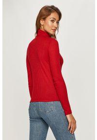 Czerwona bluzka z długim rękawem Pepe Jeans na co dzień, z golfem, casualowa