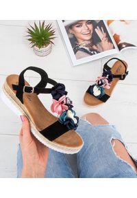 Czarne sandały SIXTH SENS ze sprzączką, na lato, w kwiaty