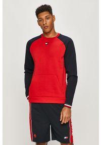 Czerwona bluza nierozpinana Tommy Sport bez kaptura, sportowa, z aplikacjami, na co dzień